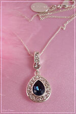 JON RICHARD. SWAROVSKI DEEP BLUE CRYSTAL DROP PENDANT NECKLACE. TICKET PRICE £20