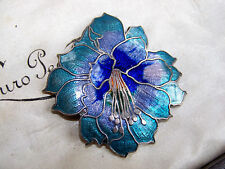 VINTAGE JEWELLERY GORGEOUS CLOISONNE ENAMEL ORCHID FLOWER BROOCH SHAWL LACE PIN