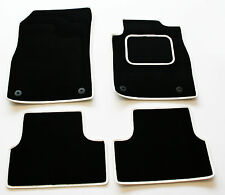 Tailored Black Car Mats for Ford Fiesta Mk7 Facelift 2011  - White Leather Trim