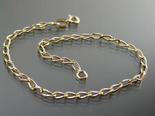 VINTAGE 9ct GOLD FINE LONG CURB LINK BRACELET C.1980