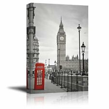 Pop of Color the Red Telephone Booth in London - Canvas Art Home Decor - 16x24