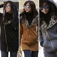 Size 8-26 Women Leopard Zipper Hoodie Long Tops Jacket Coat Sweatshirt Jumper