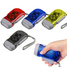 TORCH WIND UP HAND PRESS RECHARGEABLE TORCH 3 LED CAMP FLASHLIGHT SMALL NEW UK