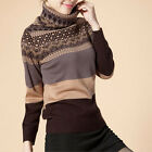 Womens Warm Wool PullOver Knit Turtle/Cowl Neck THICK Sweater S M L XL
