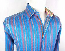 Robert Graham XL Shirt Modern Fit Floral Flip Cuff Striped Blue Red Button Up LS