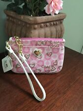 New Coach Waverly Gold Pink Heart Signature Small Wristlet 43756 B14