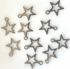 10 STAR CHARMS Stainless Steel Star Small Charm Pendant 9x9mm
