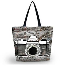 Camera Soft Foldable Tote Women's Shopping Bag Shoulder Carry Bag Lady Handbag
