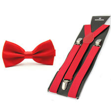 Mens Solid Color Pre-tied Stain Bow Bowtie Stretch Y-Shape Suspenders Braces Set