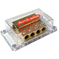 G2-14 Gold Distribution Block 0 Gauge Power or Earth - 3 x 0 AWG In to 4 x 4 AWG