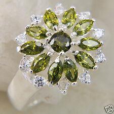Green Zircon Sun Flower 925 Sterling Silver Ring Womens Size  8
