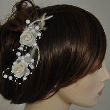 2 Stück Haarclip IVORY creme beige Ansteckblume Perlen Federn Strassstein Blumen
