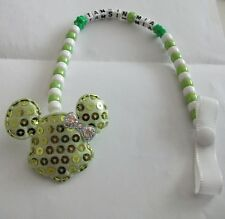 BABY GIRL LIGHT GREEN LARGE MINNIE MOUSE PERSONALISED DUMMY HOLDER CLIP