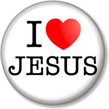 "I Love / Heart JESUS 1"" 25mm Pin Button Badge Christ Religion Christianity God"