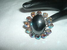 Vintage Hematite & A.B. Rhinestone Adjustable Cocktail Ring in Ring Box