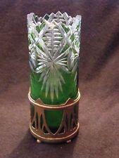 Vase Soliflore en Cristal St Louis Couleur Verte Laiton Fin XIX ème siècle 10,5