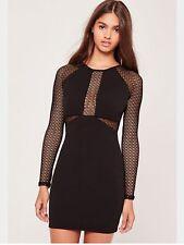 Missguided Black Long Sleeve Fishnet Panel Dress. Size 12.