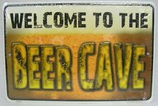 WELCOME TO THE BEER CAVE METAL SIGN GARAGE MAN CAVE GAME ROOM BAR BILLIARD