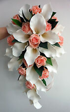 Wedding Bouquet - Ivory Latex Foam Calla Lily & Peach  Rose Teardrop