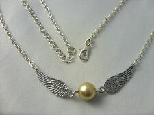 Golden Snitch Style Angel Wings Tibetan Silver Charm Pendant Chain Necklace