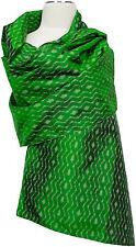 Pashmina  Ikat Schal Seide, handgewebt, scarf silk handwoven Green Grün