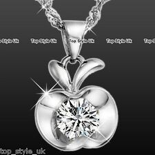 925 Sterling Silver Apple Solitaire CZ Diamante Pendant Necklace Chain Xmas Gift