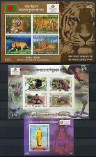 BANGLADESCH 2013 Tiger Tiere Tierschutz Affen Buddha Thailand Blocks (3) ** MNH