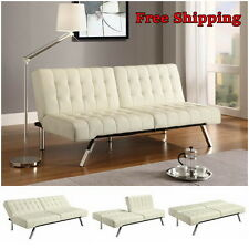 Leather Convertible Sofa Futon Couch Bed Chaise Sleeper Furniture Living Room