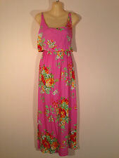 Women's One Size Pink Maxi Dress with Beautiful Flowers