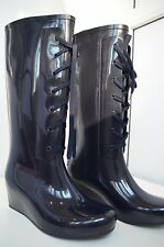 YSL Yves Saint Laurent Rain Wedge Boots Blue 38 Limited Edition Lace Up Italy