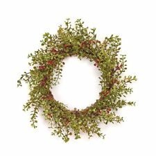 New BABY GRASS BURGUNDY BERRY WREATH CANDLE RING Country Cottage Primitive
