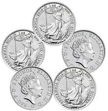 2016 1 oz Silver British Britannia Coins - 5 oz Total .999 fine (BU, Lot of 5)