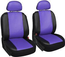 Faux Leather Car Seat Covers Purple Black 6pc Bucket Set w/Detachable Head Rests