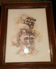 Paul Whitney Hunter raccoons print in solid wood carved frame vtg