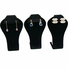 3 Pc Black Velvet Earring Display Jewelry Stand Set