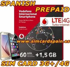 SPANISH PAYG PREPAID VODAFONE  INTERNATIONAL 4G LTE DATA SIM CARD INTERNET SPAIN