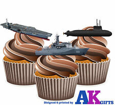 12 X Royal Navy Ship Mix Edible Wafer Cake Toppers Stand Ups Birthdays Party