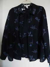 Jones New York Navy Blue Floral Long Sleeve Shirt  & Top Twin Set  Sz 14