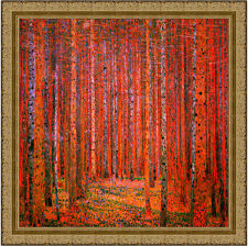 Tannenwald I by Gustav Klimt 69cm x 69cm Framed Ornate Gold