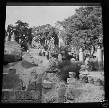 Glass Magic lantern slide  CATHAGE RUINS .  C1910 TUNISIA