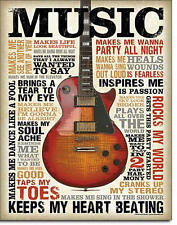 """""""Music"""" Keeps My Heart Beating, Tin Sign 12"""" X 16"""" for the Home, Pub, Man Cave"""