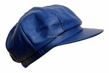 VICTORIAN PEAKY BLINDERS ROYAL BLUE REAL LEATHER CAP MEN BAKER NEWS BOY GATSBY