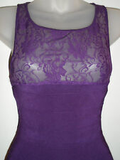 bebe S Lace Bandage Dress Royal Purple Bodycon Floral Summer Vegas Party Club