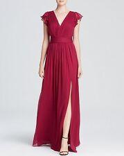 Nwt JILL Jill Stuart V-neck flutter cap sleeve silk Chiffon Gown dress size 4