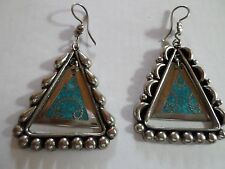 Mexican Jewelry Alpaca Silver Pierced Earrings Turquoise Triangle