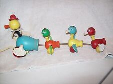 1956 Fisher Price old pull toy, mama duck and rotating wings, wood