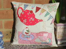 """Applique Cushion KIT Teapot Bunting Cupcakes 12"""" cotton fabric new ideal gift"""