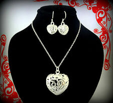 925 STERLING SILVER PLATED HEART CHARM NECKLACE EARRINGS SET VALENTINES DAY GIFT