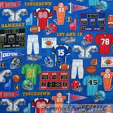 BonEful Fabric FQ Cotton Quilt Blue Red White NFL FOOTBALL Sport American Soccer