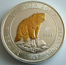 2017 Canadian Grizzly Bear  1.5 oz .999 Gold Gilded silver coin